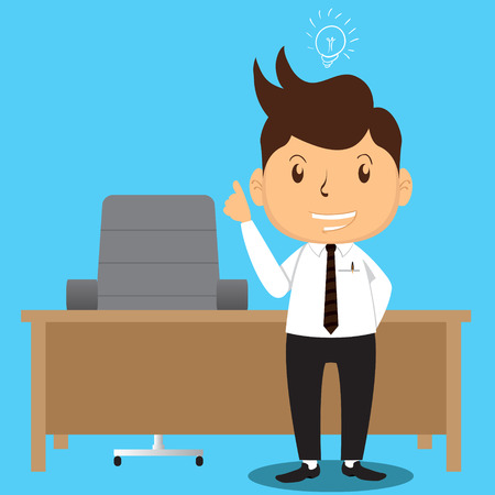 proffesional: Cartoon Office Man Character Got a Brilliant Idea about something Illustration