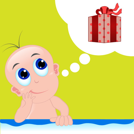 happy birthday 18: Cute Baby imagine about a gift for his birthday