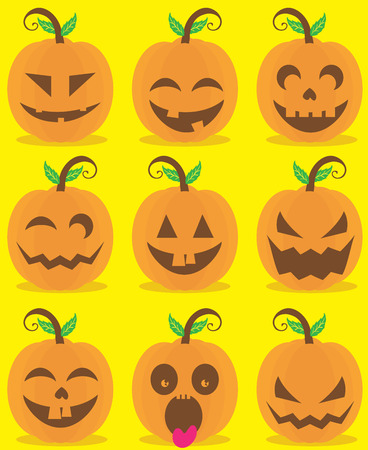 head for: A set of Pumpkin Head, for Halloween decoration and design Illustration