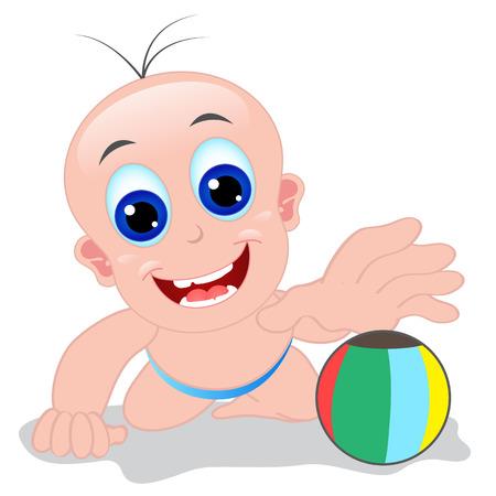 bebe gateando: Beb� lindo aprender a Crawling y atrapar una pelota