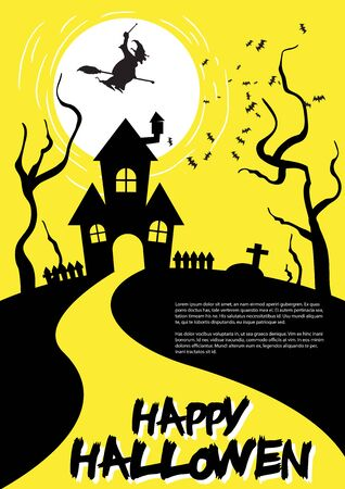 intertainment: Halloween Party Design template, with Haunted House, Witch, Wicked Moon, Dead Trees and Place for text