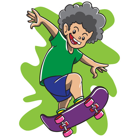 skateboard boy: kid Boy child design kindergarten colorfull childish drawing color skate skateboard skateboarding slide sport