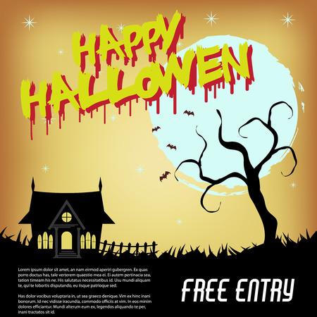 Halloween Design Set Flyer, Background design Illustration