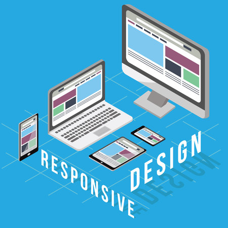 Business Concept for Responsive Design. the design that can change and adapt, based from the platform and gadget. Isometric Style