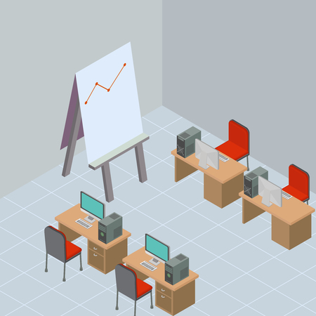 A vector illustration of a Business Meeting internet Icon. Isometric conference room interior. Education and learning in Business meeting in modern office. - Vector