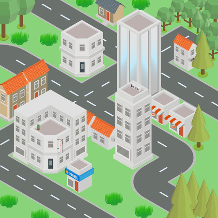 Megapolis 3d isometric three-dimensional view of the city. Collection of houses, skyscrapers, buildings, built and supermarkets with streets and traffic. The stock vector - Vector Illustration