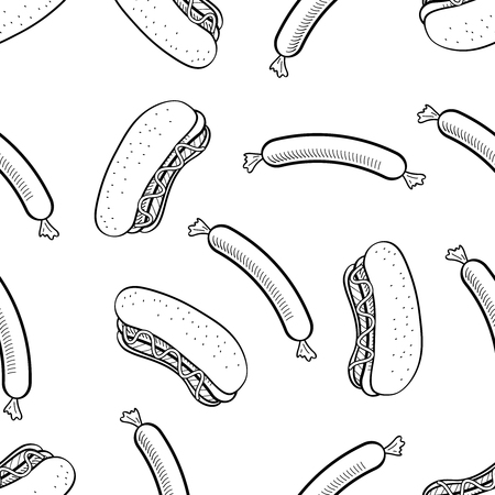 Food Hand Draw, Street Food, Burger, Hot Dog, Fast Food in handdraw Style Ilustração