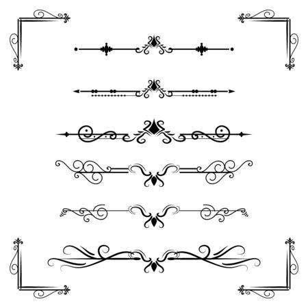 Separatore di testo decoratice divisore libro tipografia ornamento elementi di design vintage forme di divisione Illustrazione del bordo