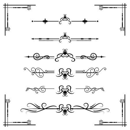 Separador de texto Divisor de decoratice Tipografía de libro Elementos de diseño de adorno Formas divisorias de la vendimia Ilustración de borde