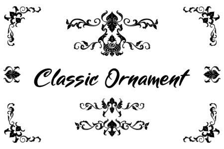 Set of Classic Flourish Ornament Frame Vintage Border Art Decorative