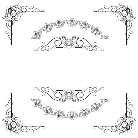 Ornaments frames Separator elements for Classic Vintage Wedding Invitation great for Wedding Card Design Ilustração Vetorial
