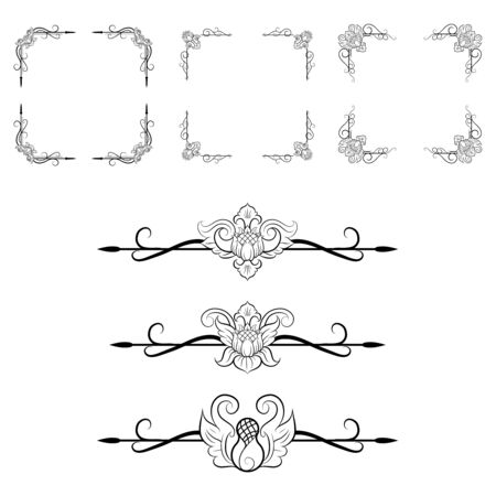 Ornaments frames Separator elements for Classic Vintage Wedding Invitation great for Wedding Card Design Vectores