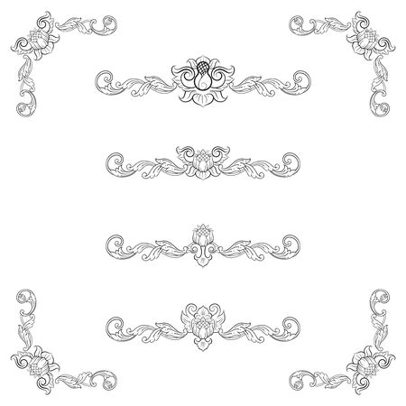 Classic Vitage Wedding Vector Ornaments frames Separator elements for Classic Vintage Wedding Invitation