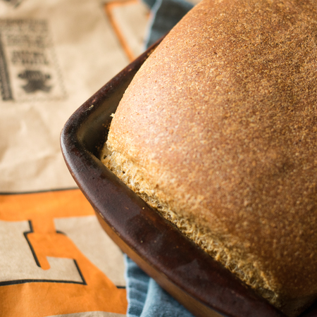 Fresh Bread in a Stoneware Loaf Pan