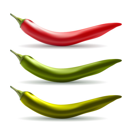 Chili pepper - red, green, yellow Vector