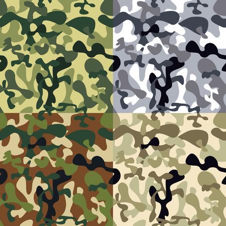 迷彩パターン - グリーン、ブラウン、グレー  イラスト・ベクター素材