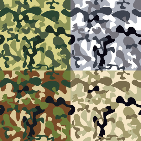 Camouflage pattern - green, brown, grey Vector