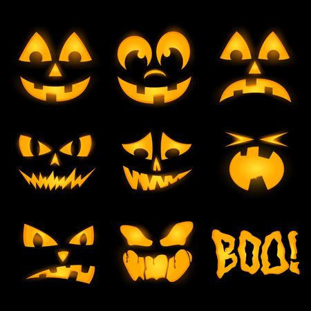 caras emociones: Naranja de halloween caras iluminaci�n de calabaza, las emociones