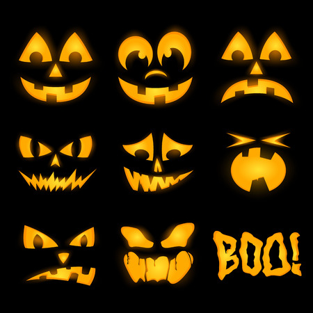 wicked set: Orange halloween lighting pumpkin faces, emotions Illustration