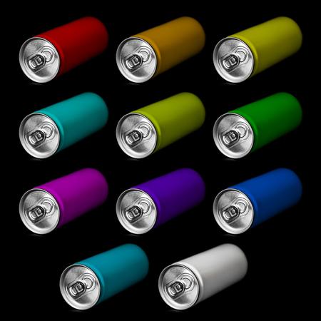 tincan: aluminum can on black background Stock Photo