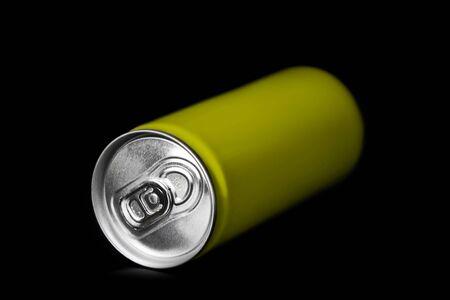 aluminum background: aluminum can on black background Stock Photo