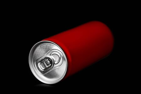 canned drink: aluminum can on black background Stock Photo