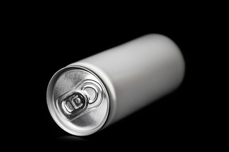 aluminum: aluminum can on black background Stock Photo