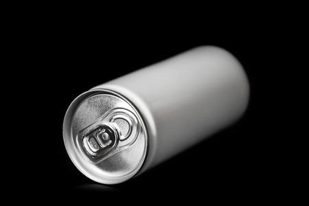 aluminum: aluminum can on black background Stock Photo