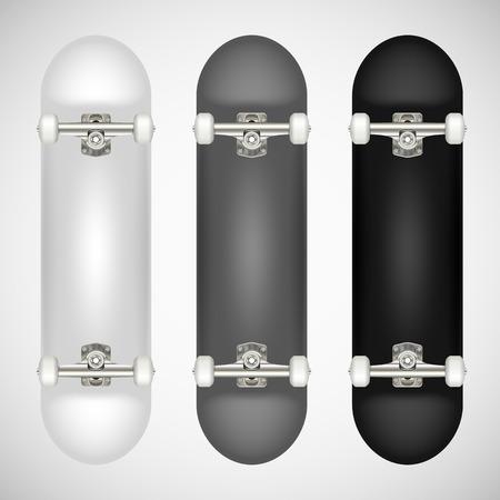 リアルな空白のスケートボードテンプレート - 白、グレー、ブラック