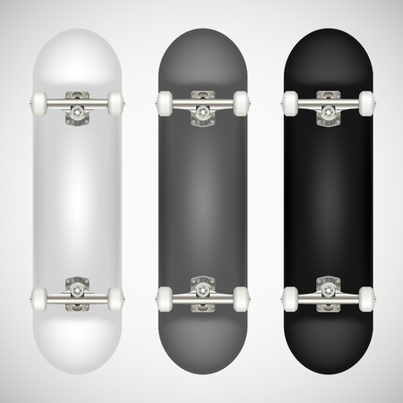 Realistic blank skateboard template - white, gray, black