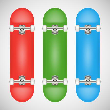 リアルな空白のスケートボードテンプレート - 赤、緑、青