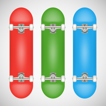 Realistic blank skateboard template - red, green, blue