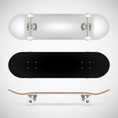 Realistic blank skateboard template - white