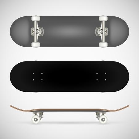 Realistic blank skateboard template - gray