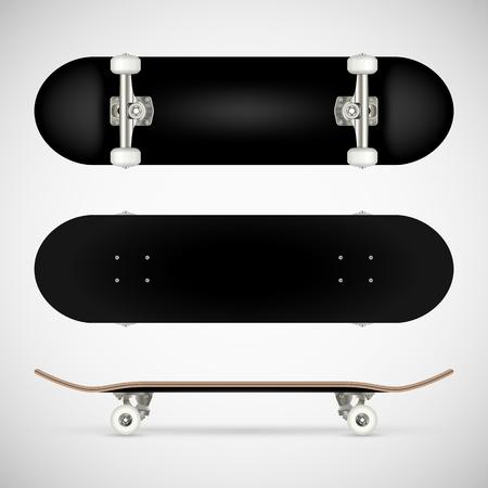 リアルな空白のスケートボードテンプレート - 黒