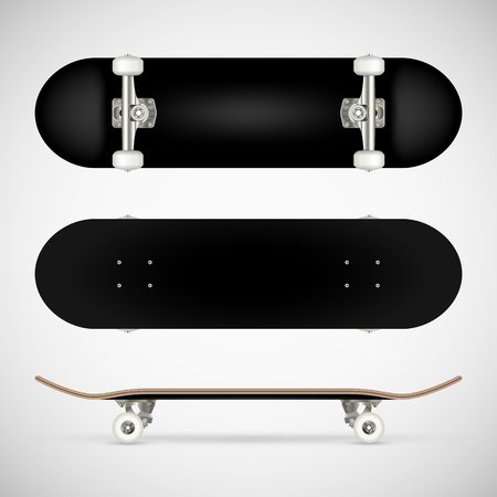 Realistic blank skateboard template - black Ilustrace