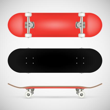 現実的な空白のスケートボードテンプレート - 赤  イラスト・ベクター素材
