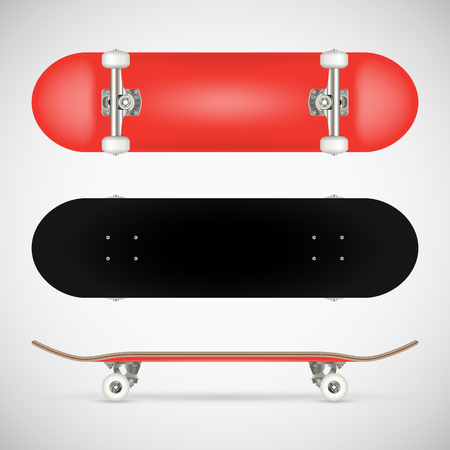 Realistic blank skateboard template - red