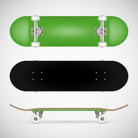 現実的な空白のスケートボードテンプレート - 緑  イラスト・ベクター素材