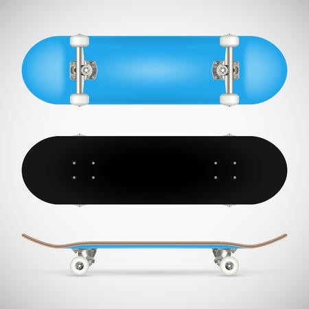 現実的な空白のスケートボードテンプレート - 青