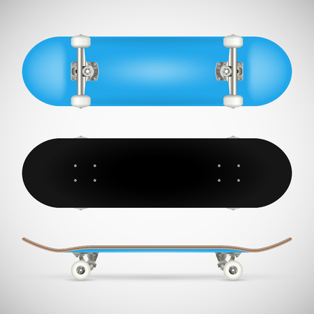 Realistic blank skateboard template - blue Ilustrace