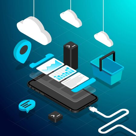 Isometric perspective view smart phone flat illustration on blue gradient background with basket, chat icon, maps poi, command line icon and phone data cable and hanging clouds. Иллюстрация