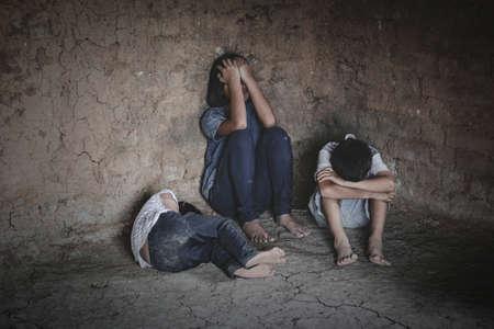 trafficking concept, human rights violations, children prison and prisoner concept,