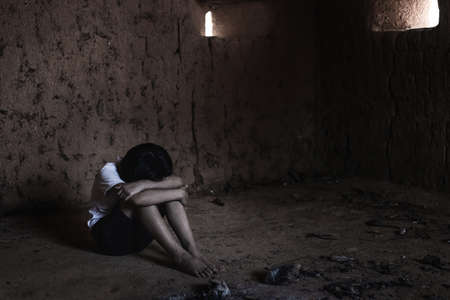 Human trafficking concept, human rights violations, Stop violence and abused children. Banque d'images