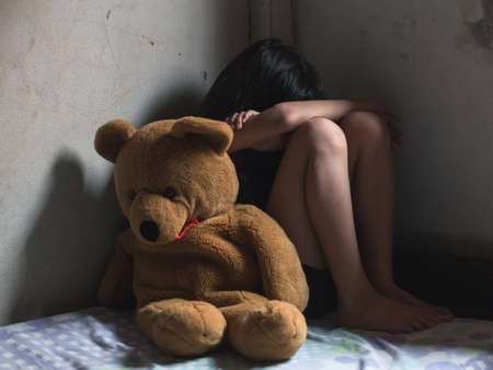 Stop violence and abused children, traumatized children concept.