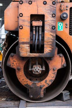 Wheel of road roller. photo