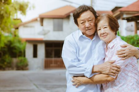 Happy elderly couple with lifestyle after retiree concept. Lovely asian seniors couple embracing together .