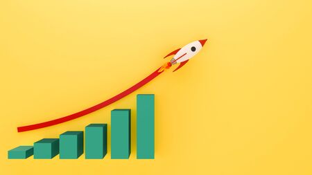 Rocket Flying  to Successful background . Business concept illustration.Rocket flying over cloud. Start up business growth .3d rendring.Business chart with a rocket going up. Banque d'images - 143533793