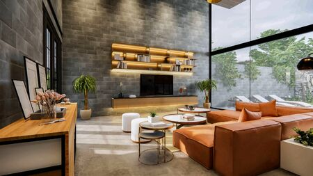 3d rendering. Interior house modern open living space with kitchen.Loft style Duplex residence .Home decoration luxury interior-exterior design.table console decoration object.