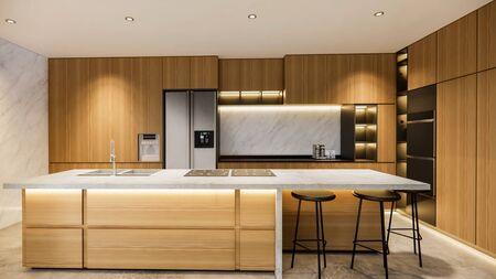 rendu 3D. Maison d'intérieur espace de vie ouvert moderne avec cuisine. Résidence d'appartements en duplex de style Loft. Décoration d'intérieur design d'intérieur de luxe.